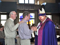 Meeting Bishop Morlino at the Rite of Election and Continuing Conversion