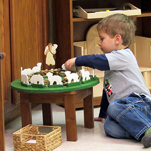 Child participating in the Catechesis of the Good Shepherd