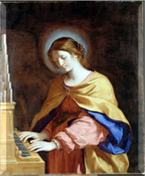 Holy woman playing a piano